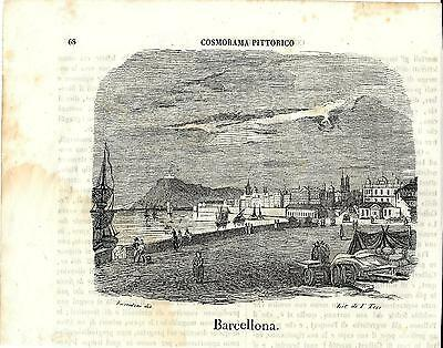 Stampa antica BARCELLONA BARCELONA panorama 1843 Antique Print Grabado Antiguo