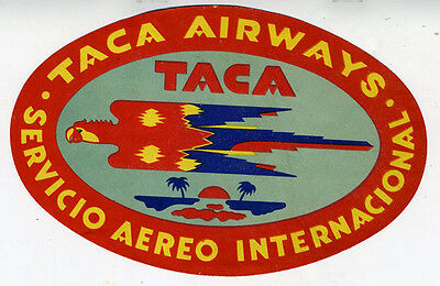 1950s Taca Airways Luggage Label with Stylized Parrot Graphics