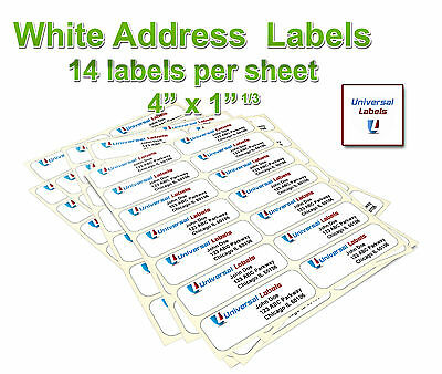 "1400 1-1/3 x 4"" labels -14 labels per sheet - same size as 5162 template"