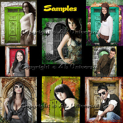 """Digital Backgrounds """"Doors Collection"""" Green Screen Photography Backdrops"""