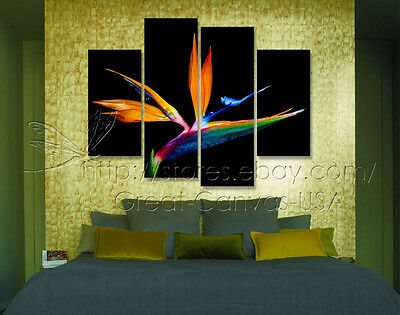 Bird In Paradise Modern Decorative Wall Clock On Quality Canvas Prints Set Of 4