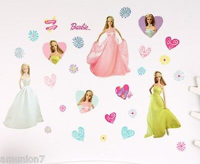 "28 Barbie Glamour Wall Stickers 4 sheets 17""x10"" Decor Peel Stick Reusable Decal"