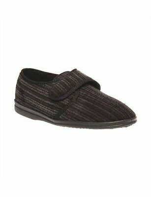 Mens Grosby Thurston Black Grey Slippers Moccasins Warm Night Men's Shoes