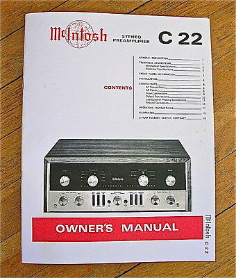 mcintosh c22 1960 s tube preamplifier owner s manual 28 95 picclick rh picclick com mcintosh c22 manual pdf mcintosh c22 commemorative edition manual