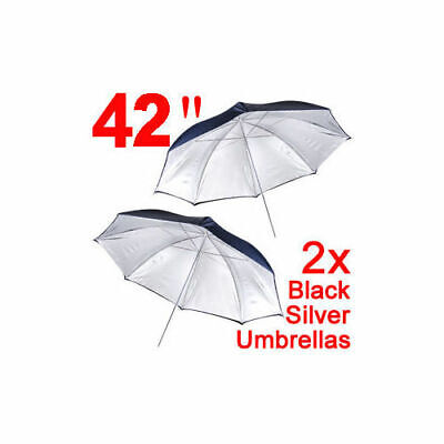"2x 42"" Back Silver Photography Umbrellas Photo Studio Softbox Reflector Light"
