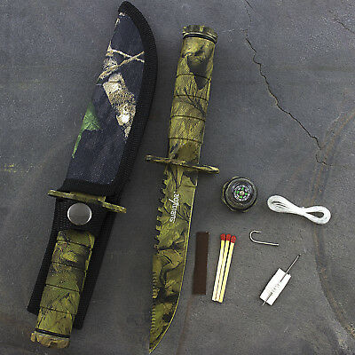 "9"" CAMO TACTICAL COMBAT SURVIVAL HUNTING KNIFE w/ SHEATH MILITARY Fixed Blade"