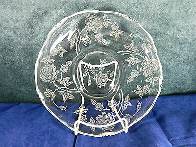 """Heisey """"rose"""" Etching #1515, 9 3/8"""" Crimped Floral Bowl On Waverly Blank"""