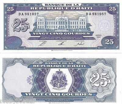 HAITI 25 Gourdes Banknote World Currency UNC Money BILL p262 1993 Caribbean Note