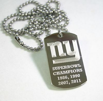 NEW YORK GIANTS NFL SUPERBOWL  NECKLACE TAG PENDANT STAINLESS STEEL