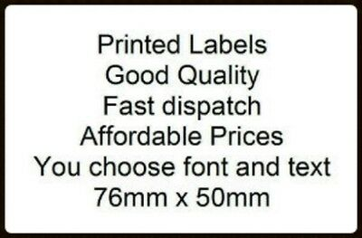 Personalised Printed Large - Sticky self adhesive WHITE labels - you choose text