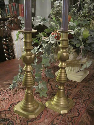 Pair Antique English Brass Candlesticks Victorian Candle Holders Old Beehive