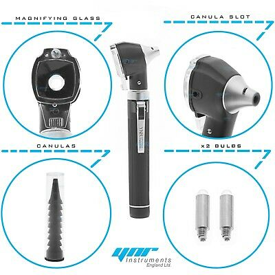 YNR Black Mini Otoscope Pocket Fiber Optic Medical Diagnostic NHS GP CE Approved