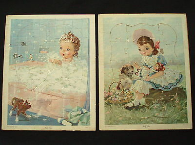 1957 HELENE PESSI Frame-Tray Inlay Picture Puzzles PARTY TIME & BATH TIME