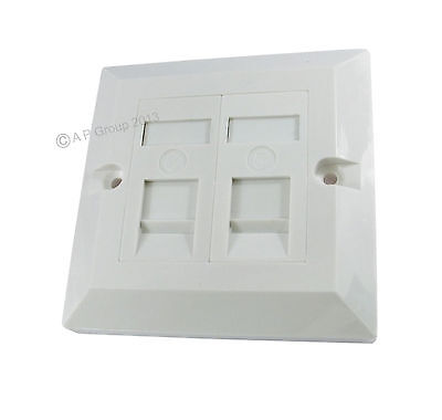2 Port Single Socket RJ45 Faceplate Face Plate RJ45 LAN Cat5e