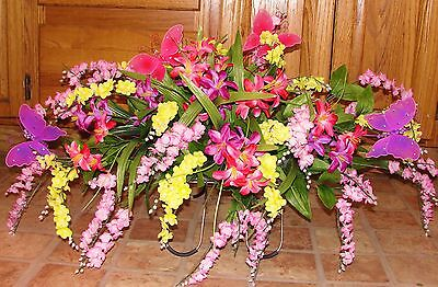 Yellow Pink Purple Centerpiece Cheerful Butterflies Cemetery Tombsbone Saddle