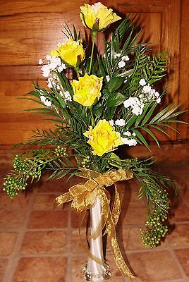 Classy White Bud Vase Silk Yellow Roses Babys Breath Dingle Berries Cascading