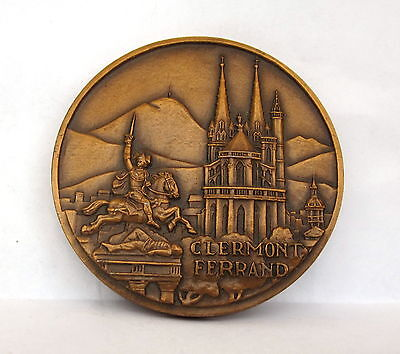 VINTAGE FRENCH CLERMONT FERRAND BRONZE MASTERLY signed PLAQUE SIGN MEDAL