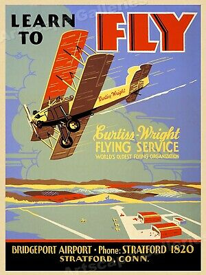 """1930s """"Learn to Fly"""" Curtiss Wright Flying Service Vintage Travel Poster - 18x24"""