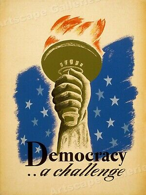 Democracy A Challenge - Statue of Liberty Classic WPA Poster - 20x24