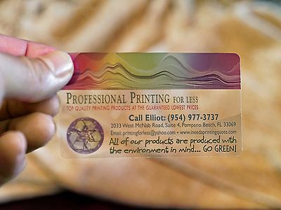 1000 Full Color CLEAR PLASTIC Printed Business Cards with Round Corner - WOW!!