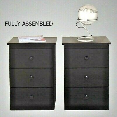 New Retro Modern Style 2 Bed side Tables In Black, 3 drawers, Del Syd Mel Bris