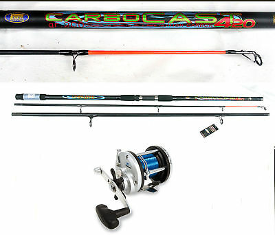 Lineaeffe Carbocast beachcaster rod 14ft & Multiplier sea fishing combo