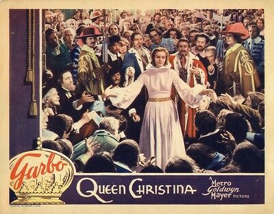 QUEEN CHRISTINA (1933) Lobby card Greta Garbo abdication of throne scene NF
