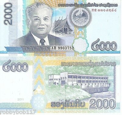 LAOS 2000 Kip Banknote World Paper Money UNC Currency BILL Pick p41 Note