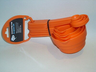 New Chef Aid Plastic Food Measuring Cups And Spoons Orange Pk 8