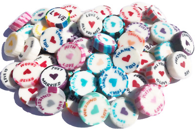 100 assorted Wedding Favour Rock Sweets - Mix of over 20 different designs