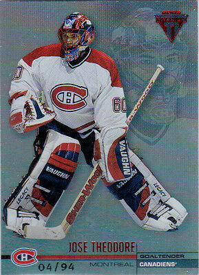 01-02 Titanium THEODORE Hobby Red /94 #76 Canadiens Private Stock Parallel