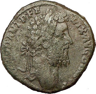 COMMODUS 190AD Sestertius Big Ancient Roman Coin Genius Cult Prosperity i18165