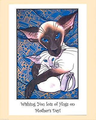 New! Large Siamese Cat And Kitten Painting Mothers Day Card By Suzanne Le Good