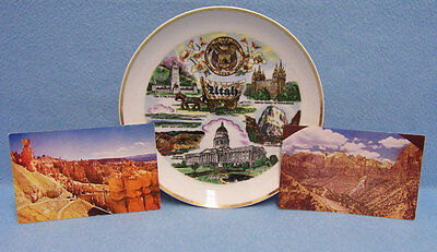 Vintage Utah Souvenir Plate and 2 Picture Postcards  Lot of 3