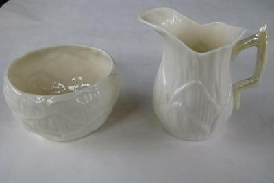 Superb Belleek Lily Creamer & Open Sugar Bowl cob luster accents gold mark EXC!