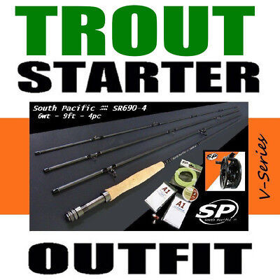TROUT FLY FISHING STARTER COMBO OUTFIT rod reel line backing leader fly & loops