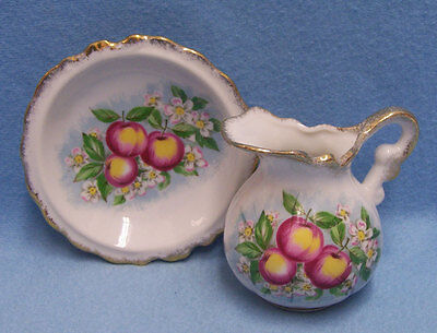 Vintage Homco Pitcher & Plate Peach with Gold Trim Creamer