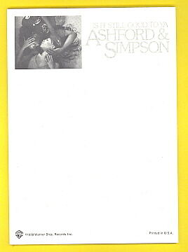 Ashford and Simpson 1978 notepad IS IT STILL GOOD TO YA ? unused
