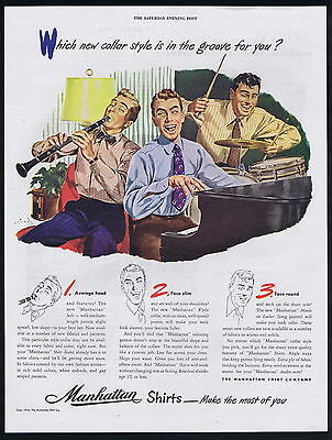 1946 Manhattan Shirts 3 Styles Head Face Shape Piano Drums Clarient Print Ad
