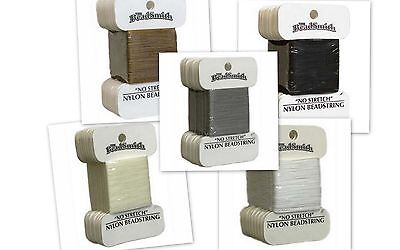 Beadsmith Nylon Bead String Cord Card - Choose Colour & Size