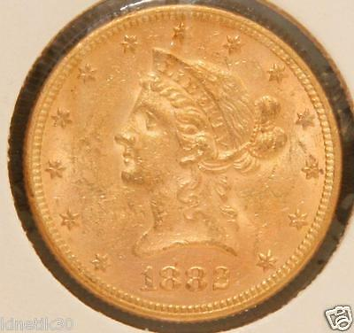 1882 $10 Liberty Head Eagle Gold Coin USA ten dollars