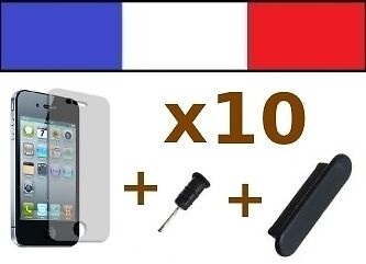 x10 LOTS NOIR anti-poussière + 10 FILMS DE PROTECTION D'ECRAN iphone 4 4s caches
