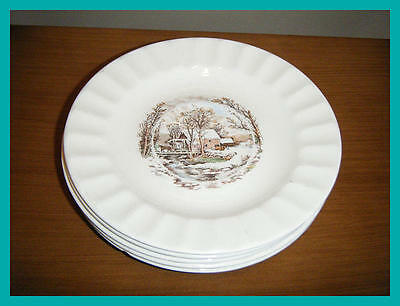 Vintage EDWIN KNOWLES China Winter Scene Saucer Lot of 5