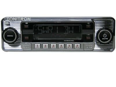 Classic Oldtimer Youngtimer Retro Radio Autoradio USB SD CD MP3 Aux In Chrom