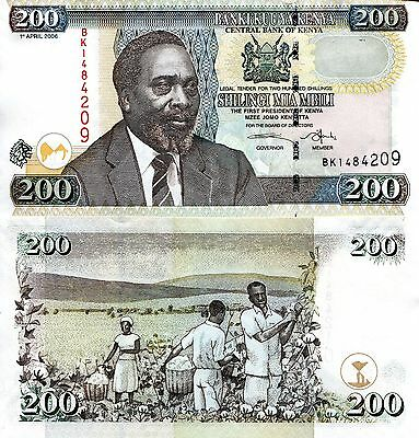 KENYA 200 Shillings Banknote World Money UNC Currency BILL Africa Note p43d 2006