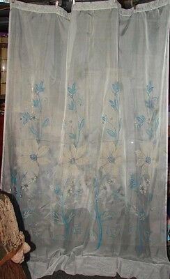 Vintage 2 Hand Painted? Blue Floral Sheer Curtains Sears?