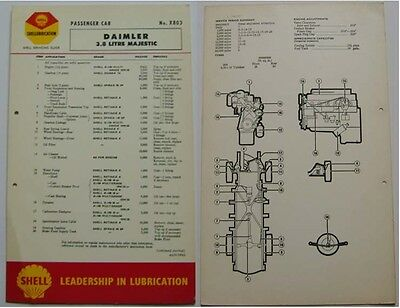 Daimler 3.8 Litre Majestic Shell Service Guide Lubrication Chart