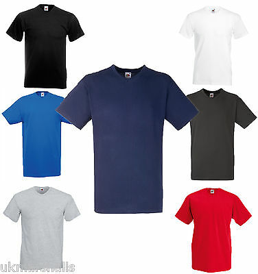Fruit of the Loom V Neck T Shirt Mens Plain Tee - 7 Great Colours 100% Cotton