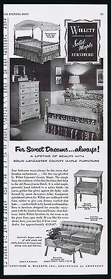 1953 Willett Lancaster Country Maple Furniture Photo Kentucky Vintage Print Ad