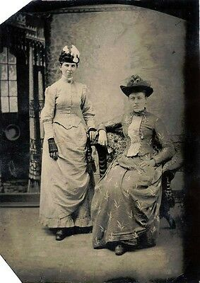 Antique Tintype Photo Portrait Of Two Beautiful Victorian Women